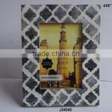 Grey Bone Photo Frame With Moroccan style inlay in square patterns available in all sizes