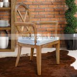 Dining Chair Cross Back Natural Whitewashed Teak Wood Furniture Handmade from Indonesia Furniture Crafter