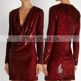 Color Changing Sequins-embellished Fabric Cowl-neck Silk Mini Dress Latest Dress Designs Photos HSD5616