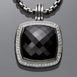 Sterling Silver DY Inspired 20mm Black Onyx Albion Pendant Enhancer