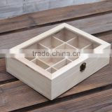 Plastic window Solid wood divider box for tea bag