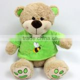 Hi-quality stuffed teddy bear with T-shirt plush toy for baby, plush teddy bear with cloth
