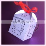 Lovely elephant Laser Cut Gift Candy Boxes Wedding Party Favor With free various colors ribbon Ribbon                                                                         Quality Choice