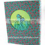 Butterfly Decorated Weaving Flower Pattern Cloth Wrapping Ring Binder Desktop File Folder for Office Stationery Cardboard