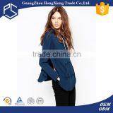 Navy blue 100% cotton side split pullover sexy women plain hoodies