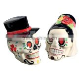 Custom Hand Painted Skull Ceramic Salt And Spice Shaker Set                                                                         Quality Choice