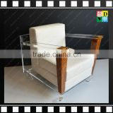 Elegant furniture Transparent clear acrylic living room sofa chairs with wood for office