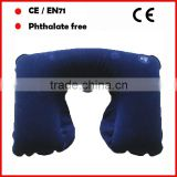 Highly quality Blue color inflatable travel neck pillow for rest/inflatable kids neck pillow/personalized travel neck pillow