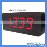 HOGIFT Desk Digital Jumbo LED Wood Clock Vintage Table Wooden Alarm Clock