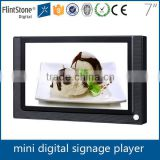 Flintstone 7 inch motion activated ir body sensor auto loop play shelf mounted acrylic panels advertising display