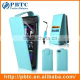 Set Screen Protector Stylus And Case For Blackberry Z10 , Sky Blue Leather Wallet Fashion Cell Phone Case