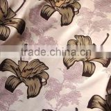 China supplier Brown and blue flower suede pattern flock on flock fabric for sofa and curtain