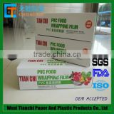 separate box food grade pvc china stretch film for packaging fruits and vegetables with zip cutter inside