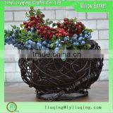 Wholesale large coffee color round shape gift willow wicker flower pots handmade christmas flower pot with liner
