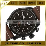 high quality professional Chronograph Black Leather Strap custom watch manufacturer watch