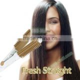 Hot Product Hair Straightening Brush, 2 in 1 Hair Flat Iron Curler, Hair Straightener Brush