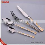 high quality stainless steel silver and gold cutlery settings,knife and fork flatware sets