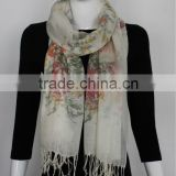 Acrylic China Style Flower Print Scarf with Fringe