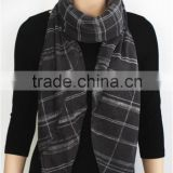 Grey Printed Viscose Scarf