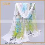 100% pure silk Mixed color flower printing korean popular scarf for gift