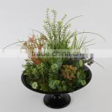 2015 Newest design big artificial tropic glass and flower arrangement for shop decorations in nice Retro iron plate