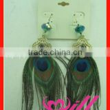 Square Crystal Earrings Fashion Earring Fashion Jewerly Peacock Feather Earring Wholesale Crystal Beads Earring