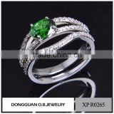 Fashion Diamond drill bit engagement ring jewelry ring set with green stone