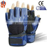Wholesale Fashion Black Pu And Microfiber Leather Gym Gloves Fingerless Gloves Men