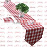 Polyester cotton blended jacquard checked pattern plain table runner wedding banquet table runner