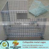 Recycle galvanized industrial box feet height 100mm metal mesh containers supermarket storage equipment collapsible metal cages