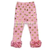 Wholesale high quality baby wear cotton leggings polka dot ruffle pants kids autumn clothes