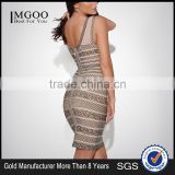 MGOO Imported Women Wholesale Dresses OEM/ODM Vintage Print Sleeveless Cocktail Dress Sheath Sexy Party Dress H290