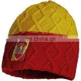 Knitted Hat with embroidery woven patch