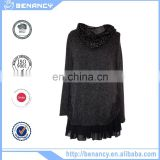 women tunic pure color pleated shirt with embroidery high neck winter causal tunic tops
