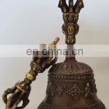 Tibetan Religious Brass Quality Bell Hand Vajra Dharma Objects Tibetan Buddhist Meditation Bells and Dorje Indian Antique