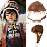 Pilot Glasses Style Sherpa Warm Baby Ear Hat (Coffee)