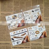 Custom Sticker Gold and Silver Foil Temporary Metallic Tattoo