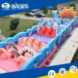 Inflatable 5k cartoon design inflatable hanging ninja obstacle course for kids