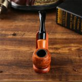 150mm Length wooden resin short tobacco pipe with yelllow solid wood bending head for smoking