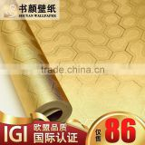 Gold foil paved the KTV club ballroom TV backdrop embossed golden hexagon -3d wall paper designer wallpaper