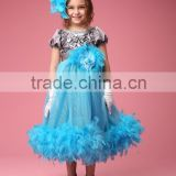 New design dress girls feather blue baby party dress fashion