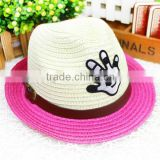Supply Children infant straw hat Wholesale panama Hat colorful cute Cowboy mini Straw Hat for kids birthday gift