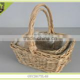 handmade willow storage basket with handle