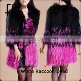 Factory direct wholesale lady's raccoon fur knitted jacket /raccoon fur knitted coat