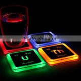ABS colorful light emitting thick cup mat LED circular cup mat color changing cup mat