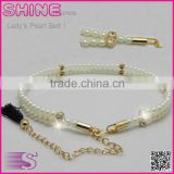 Newest Casual Trend Beautiful Belt ,Fashion Lady's Woven Rhinestones Pearl Belt                                                                         Quality Choice