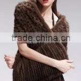 QD27600A 2014 Modern Poncho Coffee Bat Sleeved Mink Cape Regular Women's Wrap Knitted Mink Fur Shawls