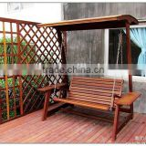 hot selling carbonized wood furniture patio kids swing set outdoor wooden swing manufaturer with celling