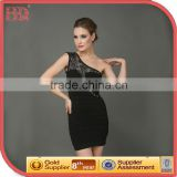 2015 one shoulder Black Beaded Bodycon Hot Girl Sexy Club Dress