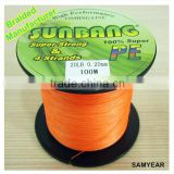 Zhejiang Outdoor Fishing Tackle Japanese Steel Bulk PE Fishing Braided Line 4 Strands 20lb 1000m Fluo